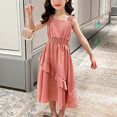 abordables Vêtements Filles-Enfants Fille Doux Couleur Pleine Ruché Mosaïque Sans Manches Midi Robe Jaune