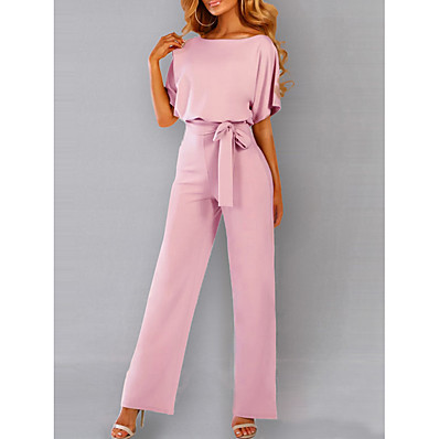 cheap Jumpsuits-Women's Daily / Going out Elegant Black Blushing Pink Yellow Jumpsuit Onesie, Solid Colored Drawstring S M L Short Sleeve Summer