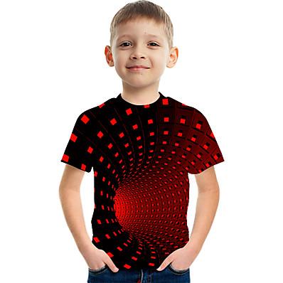 abordables Vêtements Garçons-Enfants Garçon Basique Chic de Rue Bloc de Couleur 3D Arc-en-ciel Imprimé Manches Courtes Tee-shirts Rouge