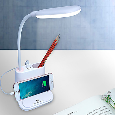 cheap Lamps & Lamp Shades-Multifunctional Desk Lamp with USB Port for Mobile Phone Pen Container Mini Fan Rechargeable Eye Protection  Modern Contemporary Built-in Li-Battery Powered DC 5V Light Pink White