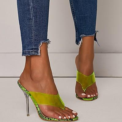 cheap Slippers-Women's Slippers & Flip-Flops Stiletto Heel Open Toe PU Summer Green / Beige