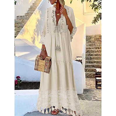 cheap Valentine's Gifts-Women's Swing Dress Maxi long Dress Yellow Blushing Pink Beige Light Blue 3/4 Length Sleeve Solid Color Tassel Lace Spring & Summer Deep V Hot Casual Boho Holiday Beach vacation dresses 2021 S M L XL