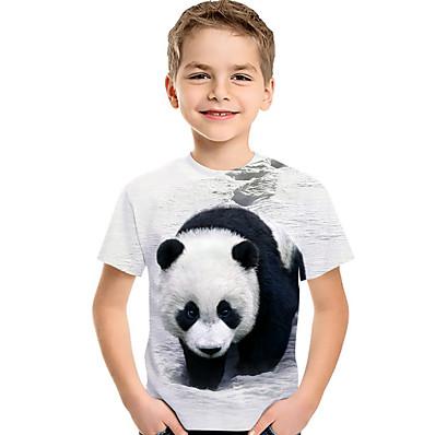 cheap Boys' Clothing-Kids Toddler Boys' Active Basic Cat Panda Fantastic Beasts Color Block 3D Animal Print Short Sleeve Tee White
