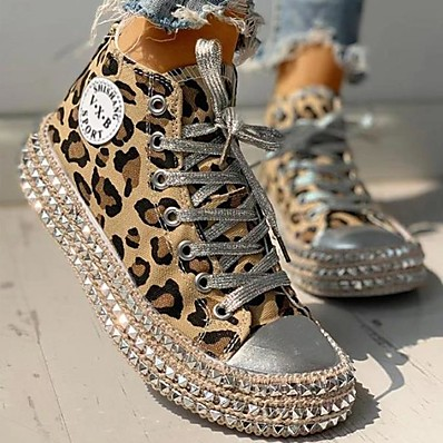 cheap Sneakers-Women's Sneakers Comfort Shoes Flat Heel Round Toe Casual Vintage Daily Office & Career Walking Shoes Canvas Rivet Leopard Leopard Black