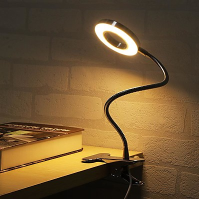 cheap Lamps & Lamp Shades-Table Lamp Desk Lamp Reading Light Dimmable Clip Adjustable USB Powered For Bedroom Office Black
