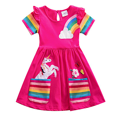 cheap Girls' Clothing-Kids Girls' Flower Cute Blue & White Blue Red Striped Rainbow Cartoon Embroidered Pleated Short Sleeve Knee-length Dress Blue