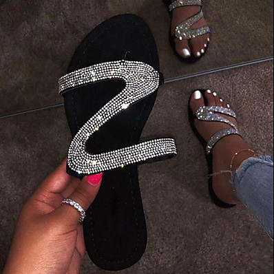 cheap Beach Sandals-Women's Sandals Glitter Crystal Sequined Jeweled Flat Heel Round Toe Rhinestone PU Summer Black