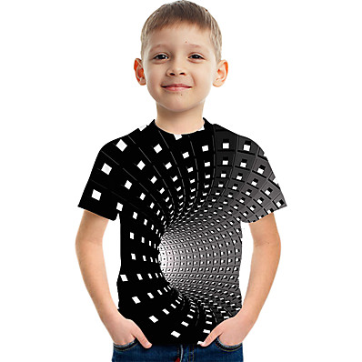 cheap Boys' Clothing-Kids Boys' Active Street chic Color Block 3D Print Short Sleeve Tee Black