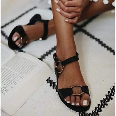 abordables Sandales-Femme Sandales Sandales plates Talon Plat Bout ouvert Quotidien Polyuréthane Eté Brun claire Noir Marron