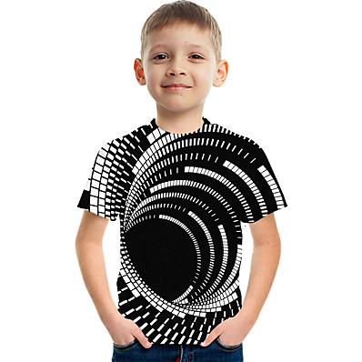 preiswerte Mode für Jungen-Kinder Jungen Grundlegend Street Schick Einfarbig 3D Regenbogen Druck Kurzarm T-Shirt Schwarz