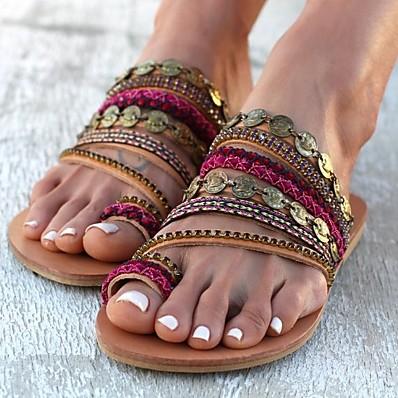 abordables Sandales pour Femme-Femme Sandales Bohème Sandales plates Talon Plat Bout rond Bohème Quotidien Plage Polyuréthane Couleur Pleine Rouge