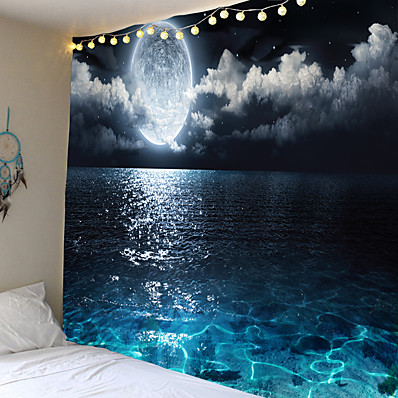 cheap Wall Art-Wall Tapestry Art Decor Blanket Curtain Picnic Tablecloth Hanging Home Bedroom Living Room Dorm Decoration Landscape Full Moon Night Sea Ocean Cloud Star Sky