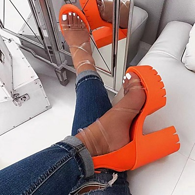 cheap Sandals-Women's Sandals Clear Transparent PVC Chunky Heel Open Toe Block Heel Sandals Daily PU Black Orange