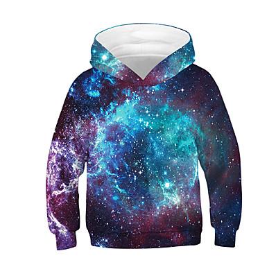 abordables Vêtements Garçons-Enfants Garçon Actif Basique Galaxie Bloc de Couleur 3D Manches Longues Pull à capuche & Sweatshirt Noir