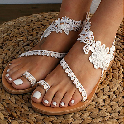cheap Shoes-Women's Sandals Boho Bohemia Beach Flat Heel Open Toe Wedding Sandals Wedding Daily Beach Lace PU Lace White