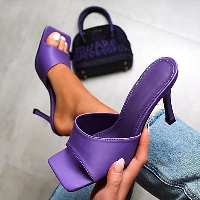 cheap Pumps & Heels-Women's Slippers & Flip-Flops Summer Stiletto Heel Open Toe Daily PU Purple / Green