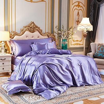 cheap Home Textiles-4-Piece Imitated Silk Fabric Duvet Cover Set,Luxury Satin Bedding Sets Include 1 Duvet Cover, 1 Flat Sheet, 2 Shams