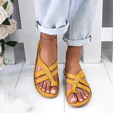 cheap Sandals-Women's Sandals Boho Bohemia Beach Wedge Sandals Flat Sandals Flat Heel Open Toe Wedge Sandals Daily PU White Yellow Brown