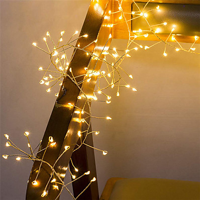cheap LED String Lights-2M 100Leds Copper Wire LED String Lights Firecracker Fairy Garland Light for Christmas Window Wedding Party Warm White Decor AA Battery Operated (come without battery)