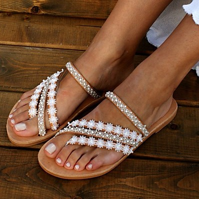 cheap SHOES-Women's Sandals Boho / Beach Flat Sandals 2020 Summer Flat Heel Open Toe Boho Daily Braided Faux Leather White