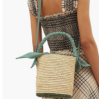 cheap Bags-Women's Sashes / Ribbons Straw Top Handle Bag Color Block Blushing Pink / Green