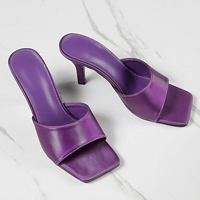 cheap Pumps & Heels-Women's Slippers & Flip-Flops Stiletto Heel Open Toe Daily PU Summer Purple / Green