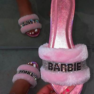 cheap Slippers-Women's Slippers & Flip-Flops Fuzzy Slippers Outdoor Slippers Flat Heel Open Toe Daily House Spa Faux Fur Letter Slogan Summer Black Pink