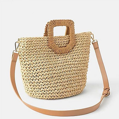 cheap ACCESSORIES-Women's Straw Crossbody Bag Straw Bag Solid Color Beige