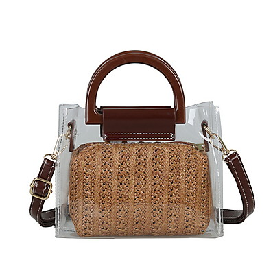 cheap Bags-Women's Zipper Straw / PVC Crossbody Bag Solid Color Black / Khaki / Brown