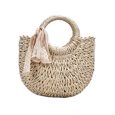 cheap Bags-Women's Hollow-out Straw Top Handle Bag Straw Bag Solid Color Khaki / Beige