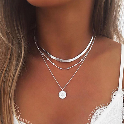 cheap ACCESSORIES-Women's Necklace Layered Necklace Stacking Stackable Simple European Fashion Chrome Gold Silver 35 cm Necklace Jewelry 1pc For Party Evening Prom Street Beach