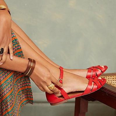 abordables Sandales pour Femme-Femme Sandales Sandales plates Talon Plat Bout ouvert Quotidien Polyuréthane Eté Noir Rouge Marron
