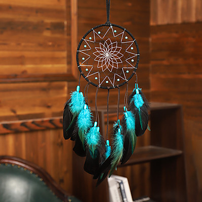 cheap Wall Art-Dream Catcher Handmade Feather Bead Party Festival Hanging Decoration Ornament Gift Home Room Girl DIY Crafts Accessories 50*16 cm