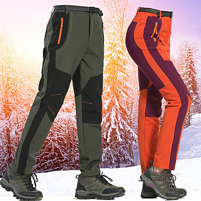 cheap Camping, Hiking & Backpacking-Women's Hiking Pants Trousers Softshell Pants Patchwork Winter Outdoor Thermal Warm Lightweight Windproof Fleece Lining Softshell Pants / Trousers Bottoms Purple Army Green Orange Camping / Hiking