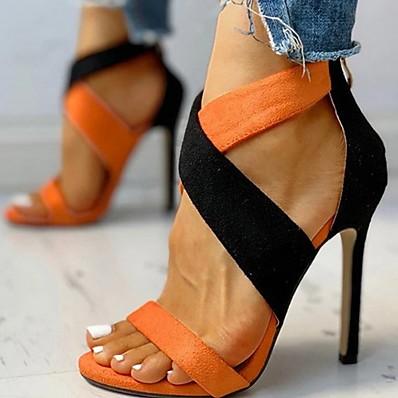 abordables Sandales pour Femme-Femme Sandales Eté Talon Aiguille Bout ouvert Quotidien Daim Orange