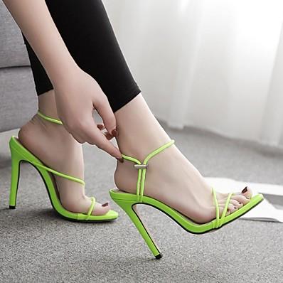 cheap Pumps & Heels-Women's Sandals Heel Sandals Summer Stiletto Heel Open Toe Daily PU Black / Yellow / Orange