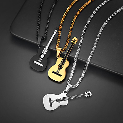 cheap Women's Jewelry-Pendant Necklace Charm Necklace Guitar Rock Fashion Folk Style Titanium Steel Black Gold Silver 55+5 cm Necklace Jewelry 1pc For Christmas Street Birthday Party Festival