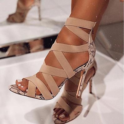 abordables Sandales-Femme Sandales Chaussures en peau de serpent Chaussures d'impression Talon Aiguille Bout ouvert Quotidien Microfibre Eté Noir Beige