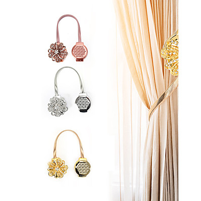 cheap Home Textiles-2 Pieces Crystal Flower Shape Magnet Curtain Buckle Magnetic Tiebacks For Curtains Window Curtain Clip Holder Strap Home Decor Accessory Adjustable Tie Back Straps Clips  Home Decoration