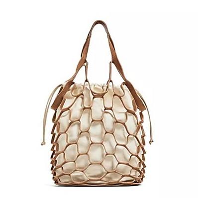 cheap Bags-Women's Zipper Straw Top Handle Bag Handbags Solid Color Camel / Black / Light Gray