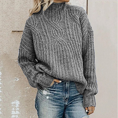 cheap Knit Tops-Women's Solid Colored Pullover Long Sleeve Loose Sweater Cardigans Turtleneck Black Blue Army Green