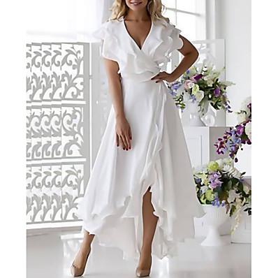 cheap Valentine's Gifts-Women's Wrap Dress Midi Dress Sleeveless Ruffle Multi Layer Plus High Low Summer Plus Size Hot Sexy vacation dresses 2021 White Dark Blue S M L XL XXL 3XL 4XL 5XL / Clothing