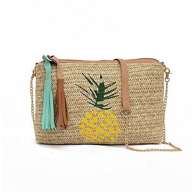 cheap Bags-Women's Bags Straw Crossbody Bag Zipper for Daily Yellow / Green / Straw Bag