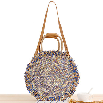 cheap Bags-Women's Bags Straw Top Handle Bag Tassel for Daily / Office & Career Black / Blue / Straw Bag / Fall & Winter