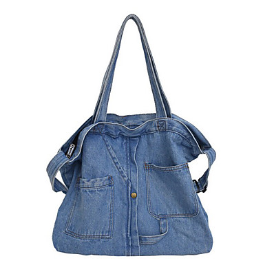 cheap Bags-Women's Denim Crossbody Bag Solid Color Sky Blue / Dark Blue