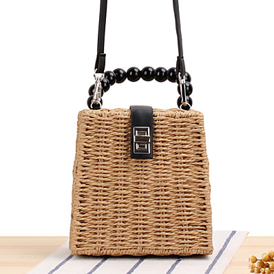 cheap Bags-Women's Straw Top Handle Bag Straw Bag Solid Color Brown / Beige / Fall & Winter