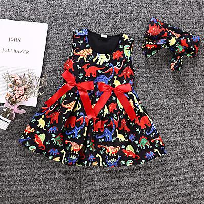 cheap Girls' Clothing-Kids Girls' Active Basic Dinosaur Animal Bow Sleeveless Knee-length Dress Rainbow