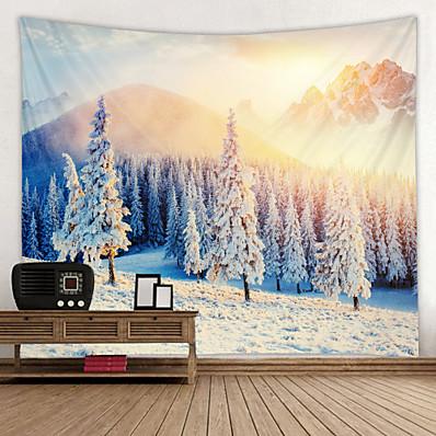 abordables Décoration Murale-la montagne de neige monte au runrise numérique tapisserie imprimée décor art mural nappes couvre-lit pique-nique couverture plage jeter tapisseries coloré chambre hall dortoir salon suspendu