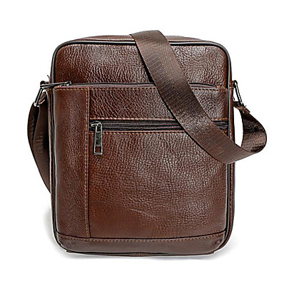 cheap Bags-Men's Bags Genuine Leather Shoulder Messenger Bag Crossbody Bag Zipper Leather Bag Office & Career Black Brown