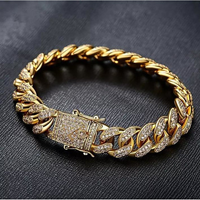 cheap Men's Jewelry-Men's White Bracelet Cuban Link Weave Trendy Alloy Bracelet Jewelry Gold / Silver For Party Evening